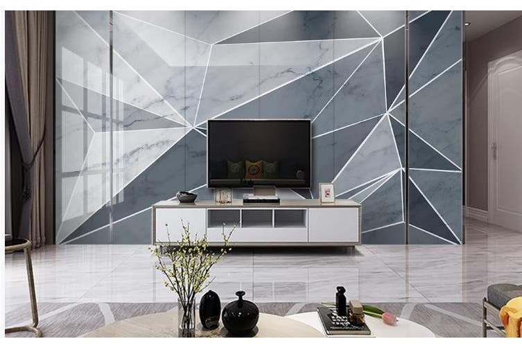 3D Marble DecorativeGeometry Graphical Wall Mural Wallpaper  D36 Self-adhesive Laminated Vinyl-W: 525cm X H: 295cm