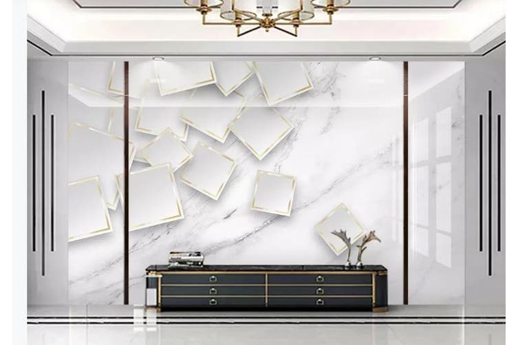 3D Marble DecorativeGeometry Graphical Wall Mural Wallpaper  D35 Self-adhesive Laminated Vinyl-W: 320cm X H: 225cm
