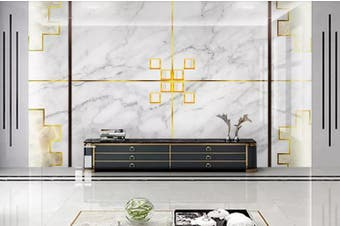 3D Marble DecorativeGeometry Graphical Wall Mural Wallpaper  D34 Self-adhesive Laminated Vinyl-W: 320cm X H: 225cm