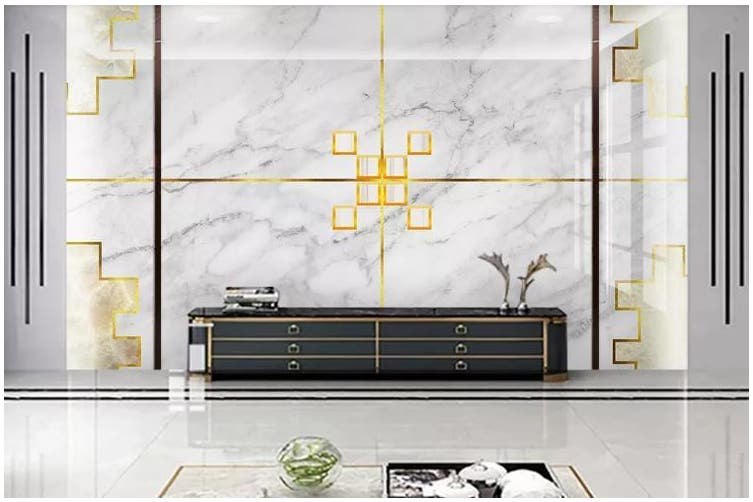 3D Marble DecorativeGeometry Graphical Wall Mural Wallpaper  D34 Self-adhesive Laminated Vinyl-W: 420cm X H: 260cm