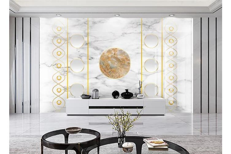3D Marble DecorativeGeometry Graphical Wall Mural Wallpaper  D33 Self-adhesive Laminated Vinyl-W: 210cm X H: 146cm