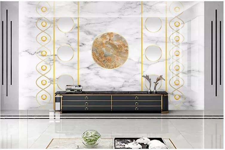 3D Marble DecorativeGeometry Graphical Wall Mural Wallpaper  D33 Self-adhesive Laminated Vinyl-W: 525cm X H: 295cm
