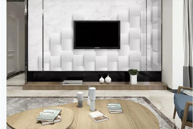3D Marble DecorativeGeometry Graphical Wall Mural Wallpaper  D32 Self-adhesive Laminated Vinyl-W: 320cm X H: 225cm