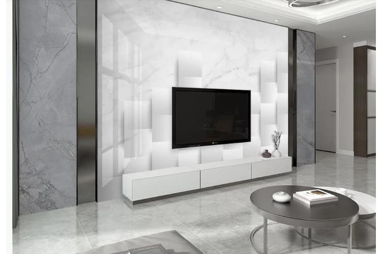 3D Marble DecorativeGeometry Graphical Wall Mural Wallpaper  D32 Self-adhesive Laminated Vinyl-W: 420cm X H: 260cm