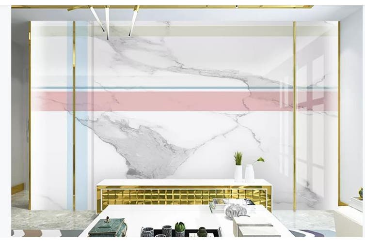 3D Marble DecorativeGeometry Graphical Wall Mural Wallpaper  D26 Self-adhesive Laminated Vinyl-W: 320cm X H: 225cm