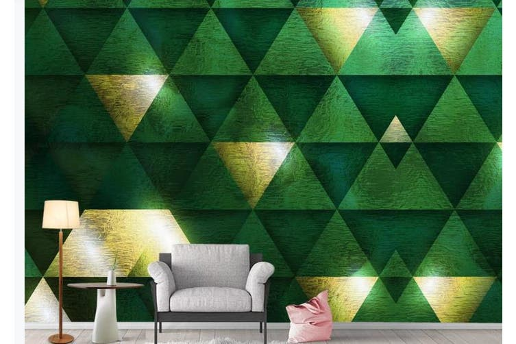 3D Marble Decorative Geometry Triangle Wall Mural Wallpaper  D24 Self-adhesive Laminated Vinyl-W: 320cm X H: 225cm