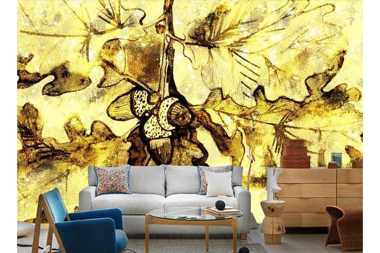 3D Golden Retro Abstract Leaves Wall Mural Wallpaper  D23 Self-adhesive Laminated Vinyl-W: 320cm X H: 225cm
