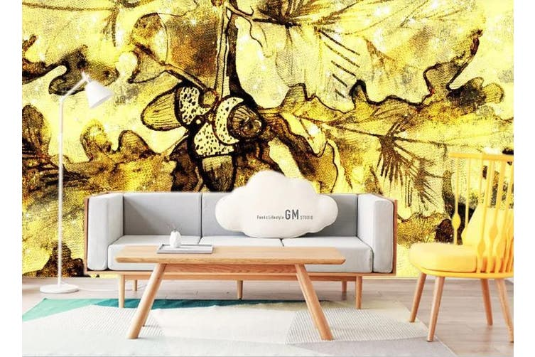 3D Golden Retro Abstract Leaves Wall Mural Wallpaper  D23 Self-adhesive Laminated Vinyl-W: 420cm X H: 260cm