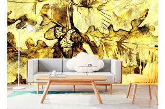 3D Golden Retro Abstract Leaves Wall Mural Wallpaper  D23 Self-adhesive Laminated Vinyl-W: 525cm X H: 295cm