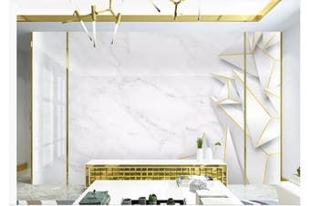 3D Solid Geometry White Triangle Wall Mural Wallpaper  D22 Self-adhesive Laminated Vinyl-W: 210cm X H: 146cm