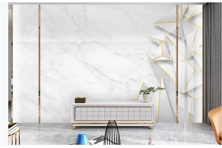 3D Solid Geometry White Triangle Wall Mural Wallpaper  D22 Self-adhesive Laminated Vinyl-W: 320cm X H: 225cm