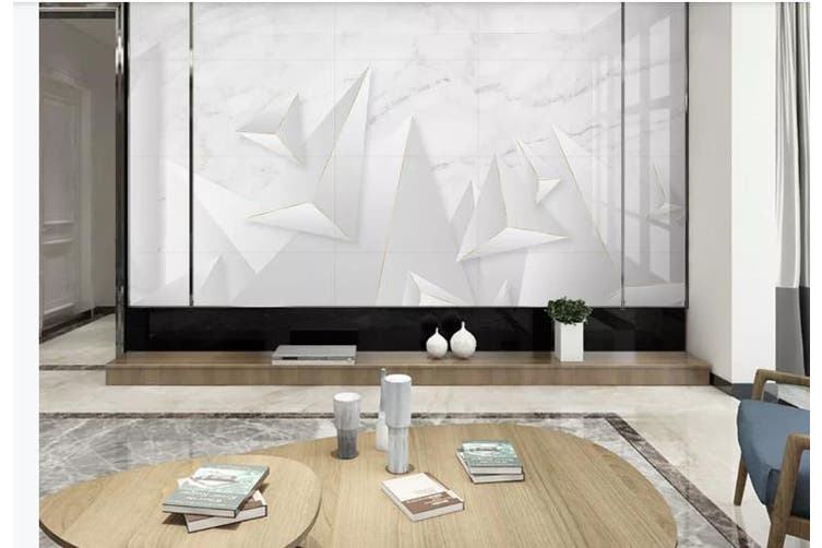 3D Solid Geometry White Triangle Wall Mural Wallpaper  D21 Self-adhesive Laminated Vinyl-W: 525cm X H: 295cm