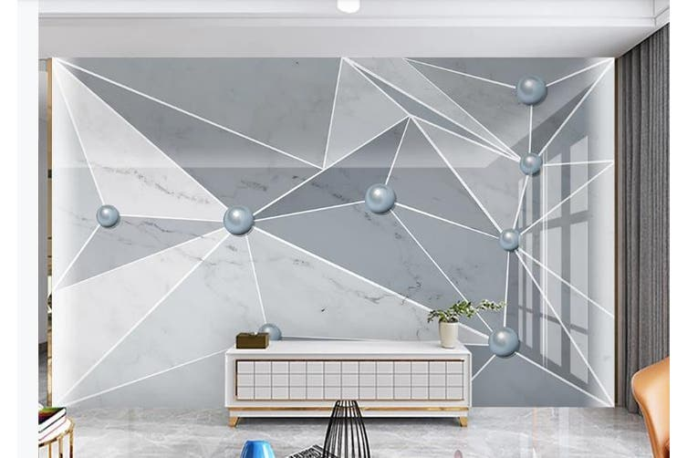 3D Solid Geometry White Triangle Wall Mural Wallpaper  D20 Self-adhesive Laminated Vinyl-W: 320cm X H: 225cm