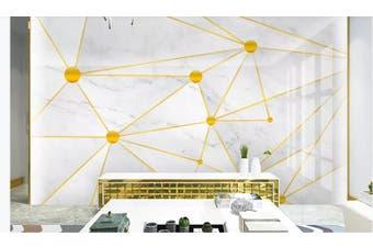 3D Solid Geometry Golden Lines Wall Mural Wallpaper  D19 Self-adhesive Laminated Vinyl-W: 320cm X H: 225cm