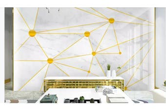 3D Solid Geometry Golden Lines Wall Mural Wallpaper  D19 Self-adhesive Laminated Vinyl-W: 525cm X H: 295cm