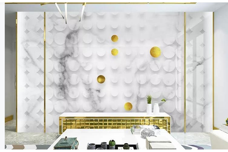 3D Solid Geometry Ring Speckle Wall Mural Wallpaper  D18 Self-adhesive Laminated Vinyl-W: 525cm X H: 295cm