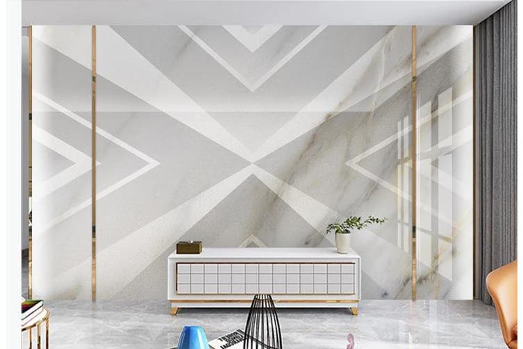 3D Solid Geometry White Triangle Wall Mural Wallpaper  D17 Self-adhesive Laminated Vinyl-W: 210cm X H: 146cm