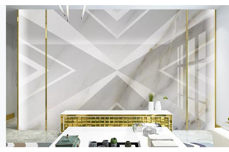 3D Solid Geometry White Triangle Wall Mural Wallpaper  D17 Self-adhesive Laminated Vinyl-W: 525cm X H: 295cm