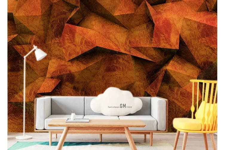 3D Solid Geometry Color Triangle Wall Mural Wallpaper  D16 Self-adhesive Laminated Vinyl-W: 320cm X H: 225cm