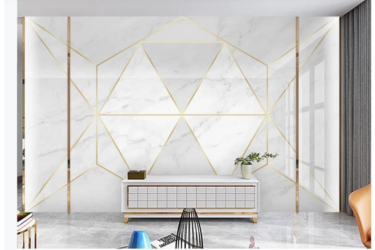 3D Solid Geometry White Triangle Wall Mural Wallpaper  D15 Self-adhesive Laminated Vinyl-W: 210cm X H: 146cm