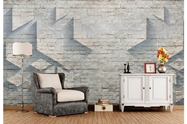3D Solid Geometry Brick Wall Diamond Wall Mural Wallpaper  D14 Self-adhesive Laminated Vinyl-W: 320cm X H: 225cm