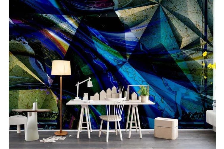 3D Solid Geometry Color Triangle Wall Mural Wallpaper  D13 Self-adhesive Laminated Vinyl-W: 210cm X H: 146cm