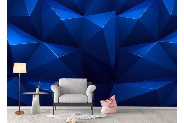 3D Solid Geometry Blue Triangle Wall Mural Wallpaper  D12 Self-adhesive Laminated Vinyl-W: 420cm X H: 260cm