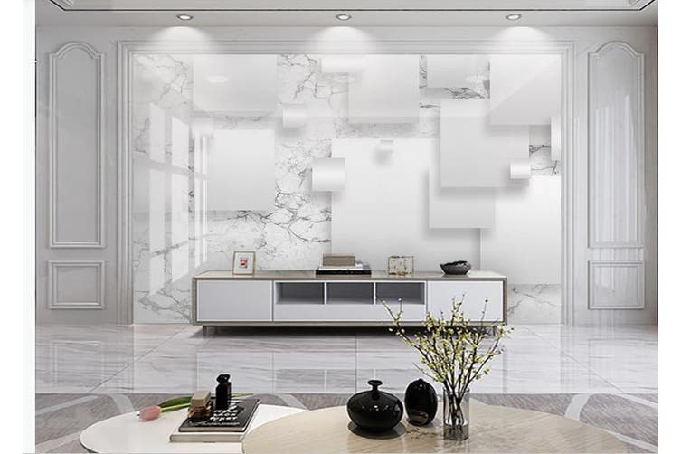 3D Solid Geometry White Square Wall Mural Wallpaper  D11 Self-adhesive Laminated Vinyl-W: 320cm X H: 225cm