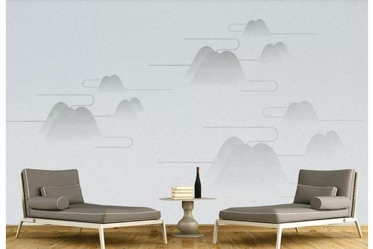 3D Chinese New Style Mountain Cloud Wall Mural Wallpaper  D8 Self-adhesive Laminated Vinyl-W: 210cm X H: 146cm