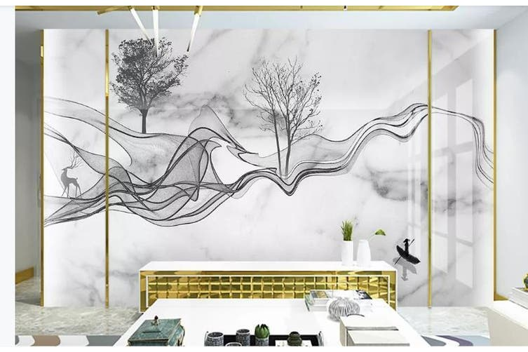 3D Chinese New Style Ink Lines Wall Mural Wallpaper  D4 Self-adhesive Laminated Vinyl-W: 420cm X H: 260cm