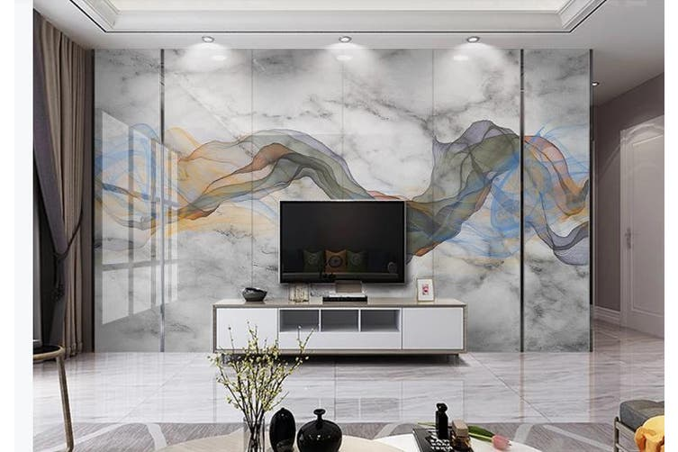 3D Chinese New Style Ink Lines Wall Mural Wallpaper  D3 Self-adhesive Laminated Vinyl-W: 320cm X H: 225cm