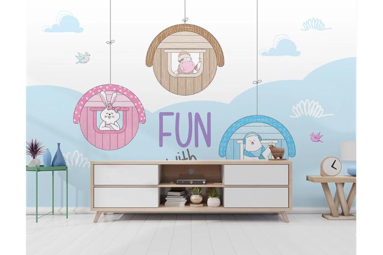 3D Cartoon Animal Kid Wall Mural Wallpaper 60 Self-adhesive Laminated Vinyl-W: 525cm X H: 295cm