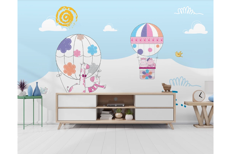 3D Cartoon Hot Air Balloon Wall Mural Wallpaper 58 Self-adhesive Laminated Vinyl-W: 420cm X H: 260cm