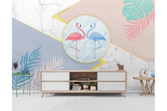 3D Flamingo Leaves Marble Wall Mural Wallpaper 57 Self-adhesive Laminated Vinyl-W: 320cm X H: 225cm
