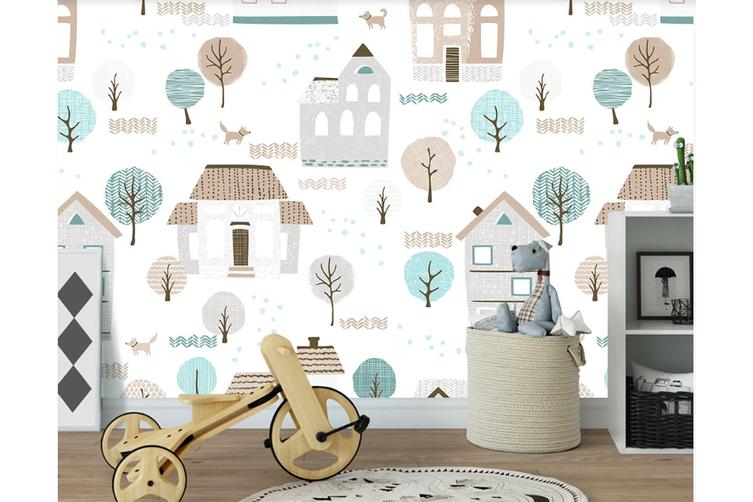 3D Cartoon House Tree Wall Mural Wallpaper 56 Self-adhesive Laminated Vinyl-W: 320cm X H: 225cm