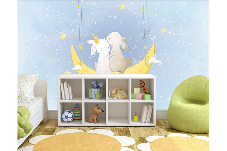 3D Blue Moon Rabbit Wall Mural Wallpaper 55 Self-adhesive Laminated Vinyl-W: 420cm X H: 260cm