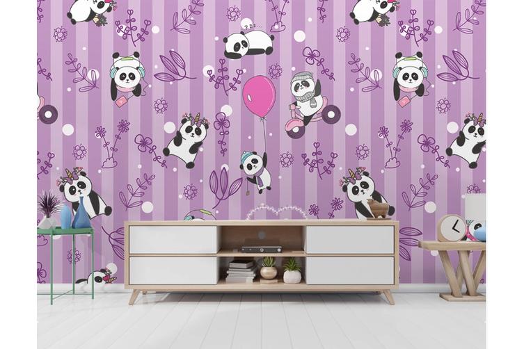 3D Purple Stripes Panda Wall Mural Wallpaper 54 Self-adhesive Laminated Vinyl-W: 420cm X H: 260cm