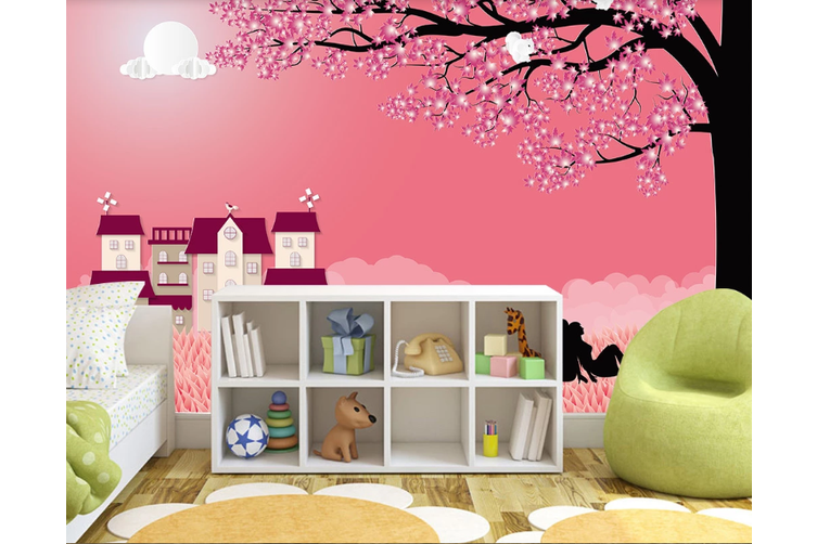 3D Red House Tree Moon Wall Mural Wallpaper 52 Self-adhesive Laminated Vinyl-W: 210cm X H: 146cm