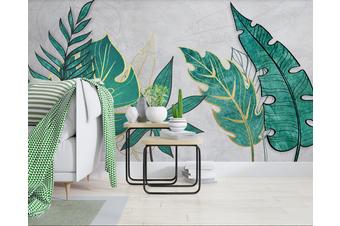 3D Green Leaves Wall Mural Wallpaper 49 Self-adhesive Laminated Vinyl-W: 525cm X H: 295cm
