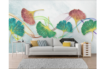 3D Ginkgo Leaves Wall Mural Wallpaper 43 Self-adhesive Laminated Vinyl-W: 320cm X H: 225cm