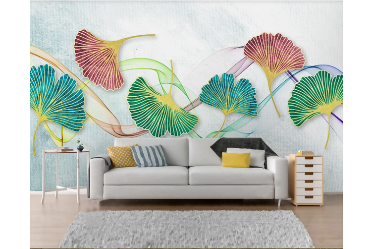 3D Ginkgo Leaves Wall Mural Wallpaper 43 Self-adhesive Laminated Vinyl-W: 420cm X H: 260cm