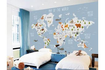 3D blue worldmap cartoon animals wall mural wallpaper Self-adhesive Laminated Vinyl