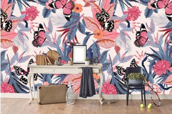 3D colorful tropical plant butterfly wall mural wallpape 1 Self-adhesive Laminated Vinyl