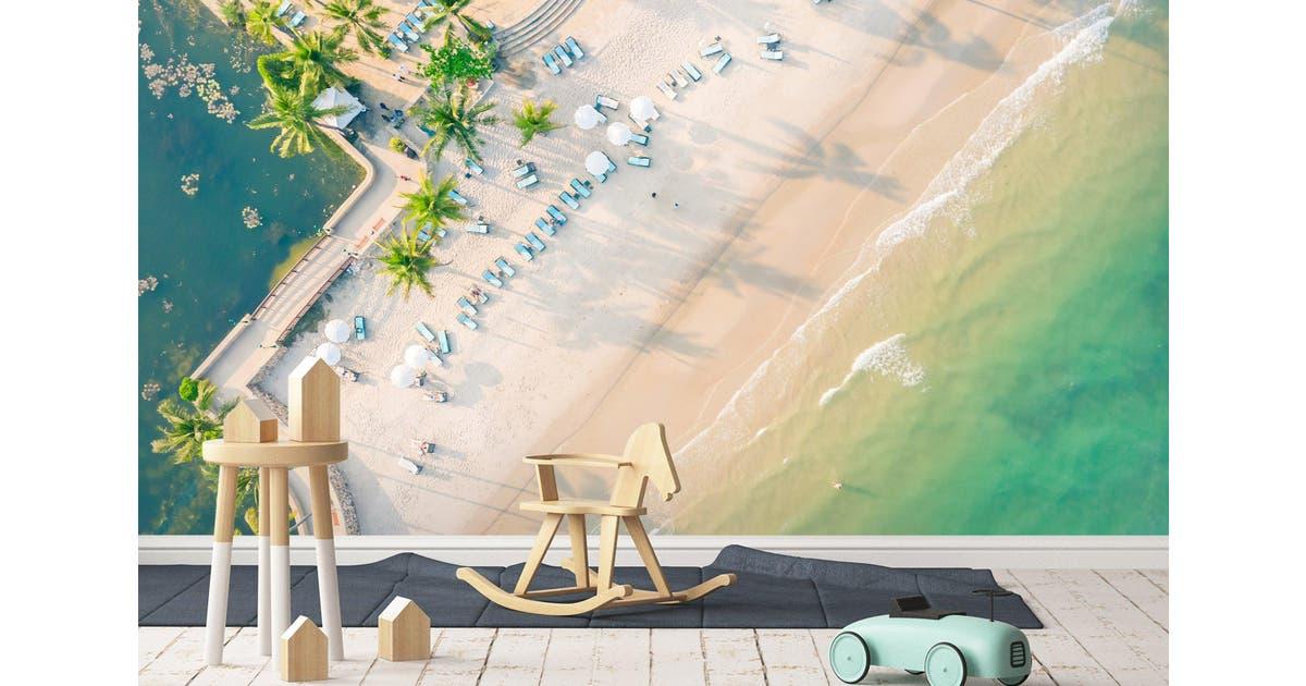 Dick Smith 3d Sea Beach Trees Wall Mural Wallpaper 61 Self Adhesive Laminated Vinyl W 210cm X H 146cm Home Garden Diy Wallpaper Tools Accessories Wallpaper Murals Wallpaper