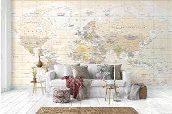 3D light color world map wall mural wallpaper 74 Self-adhesive Laminated Vinyl