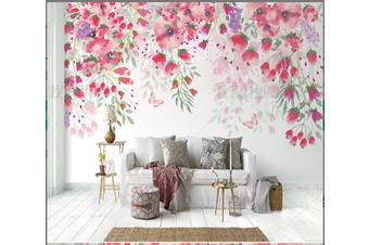 3D nordic hand drawing flowers wall mural Wallpaper 350 Self-adhesive Laminated Vinyl