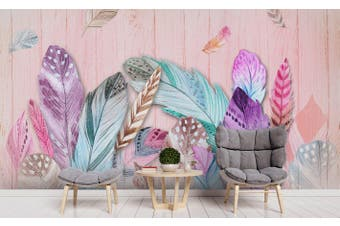 3D Colorful Feathers Wall Mural Wallpaper 55 Self-adhesive Laminated Vinyl-W: 210cm X H: 146cm