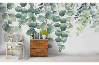 3D Watercolor Green Leaves Wall Mural Wallpaper 244 Self-adhesive Laminated Vinyl
