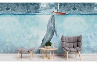 3D Blue Ocean Whale Wall Mural Wallpaper 235 Self-adhesive Laminated Vinyl