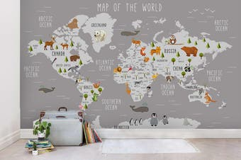 3D Grey Animals World Map Wall Mural Wallpaper 26 Self-adhesive Laminated Vinyl